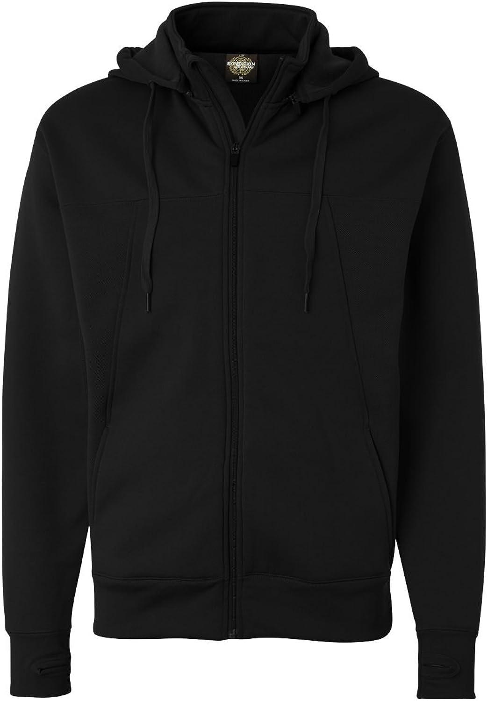 Independent Trading Co. Mens Hi-Tech Full-Zip Hooded SweatshirtBlackM