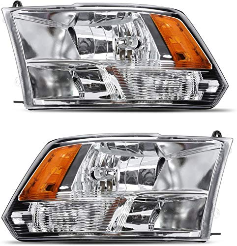 SHAREWIN Replacement For Ram 1500 2500 3500 Dodge 2009 2010 2011 2012 2013 2014 Pickup Headlights Headlamp Assembly Chrome Housing Amber Reflector Passenger and Driver Side