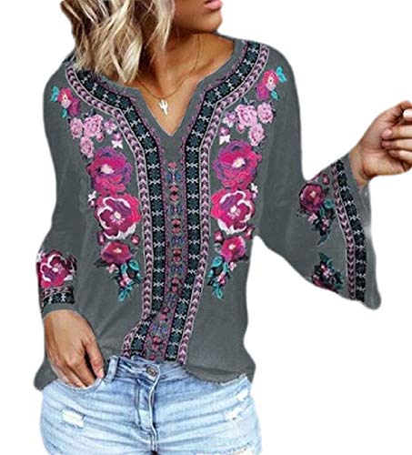 SOWTKSL Damen Tunika-Bluse mit floralem Muster, langärmelig, V-Ausschnitt Gr. M, grau