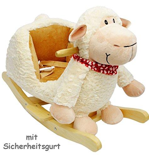 alles-meine.de GmbH XL Plüsch und Holz Schaukelpferd -  Schäfchen  - mit Einstiegshilfe und Sicherheitsgurt - süßes Schaf - mit Gurt - Schaukelschaf - Schaukeltier mit Plüschbe..