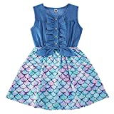 Little Girls Mermaid Denim Dresses Ruffle Bowknot Casual Skirts Summer School Twirl Sundress Size 3-4 Years for Birthday Party Gifts (Blue,Swing Frocks)