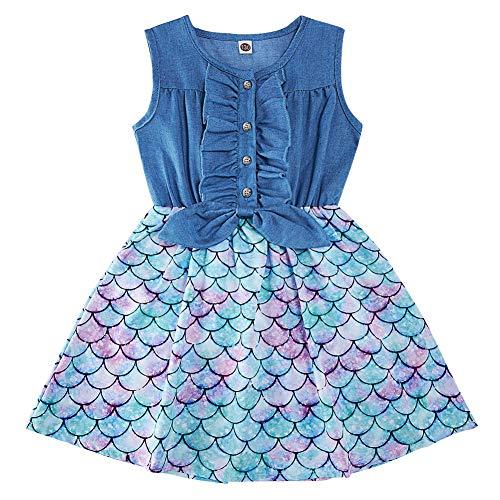 AIDEAONE Kleine Mädchen Kleid Denim Bogenknoten Rock Ärmellose Sommer Meerjungfrau Kleid Kleidung 2-3 Jahre