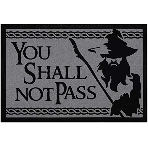 """MoonWorks® Felpudo con texto en inglés """"You Shall not Pass Fantasy"""", antideslizante y lavable, color negro, 60 x 40 cm"""