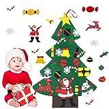 XianJia Feltro Albero Natale, Albero di Natale in Feltro per Bambini di DIY con 25 PZ Ornamenti Staccabili Ciondoli Natale Decorativi, Decorazioni Natale Feltro Christmas Albero(Verde) (Sezione D.)
