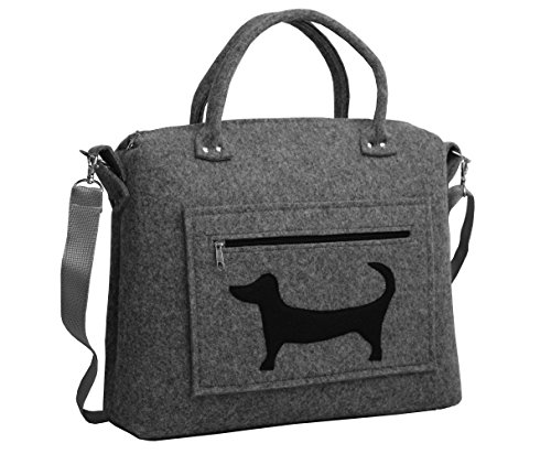 ROOGU Der Dackel Waldi ooo Handmade [ extra leichte ] Handtasche Umhängetasche aus stabilisiertem Filz