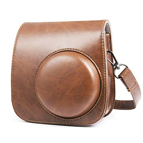 Funda de cámara para Fujifilm Instax Mini 8/ Mini9, MOOKLIN PU Leather Case Bag Bolsa de Hombro Individual con Dibujos Animados y Bolsillo para Cámara Fujifilm Instax Mini8 Mini8s Mini9 - Marrón