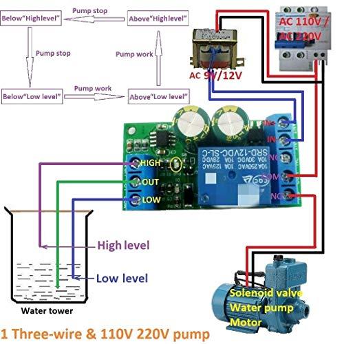 XYHHStor Relé Interruptor del Sensor de Nivel de Agua líquida 12V Controlador automático de la válvula de solenoide del Motor de la Bomba de Control automático de Placa de relés Relé electrónico,