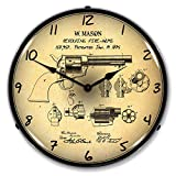 Colt Peace Maker Patent LED Wall Clock, Retro/Vintage, Lighted, 14 inch