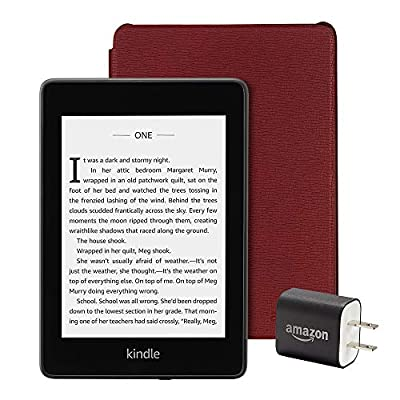 Kindle Paperwhite Essentials Bundle including Kindle Paperwhite - Wifi, Ad-Supported, Amazon Leather Cover, and Power Adapter from Amazon