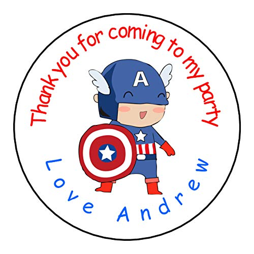 A4 sheet of Round GLOSS PERSONALISED Superhero Captain America Birthday Party Favour Labels Stickers (35 x 37mm)