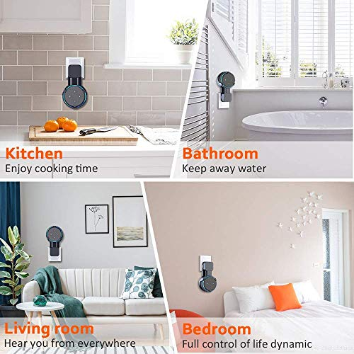 Bovon Upgrade Wall Mount Holder for Echo Dot 3rd Generation, A Space-Saving Solution for Your Smart Home Speakers, Clever Dot Accessories with Cord Arrangement for Kitchen, Bedroom, Bathroom