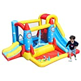 AirMyFun Inflatable Bounce House,Bouncy Castle with Air Blower,Play House with Ball Pit,Inflatable Kids Slide,Jumping Castle with Carry Bag(Rocket Theme)