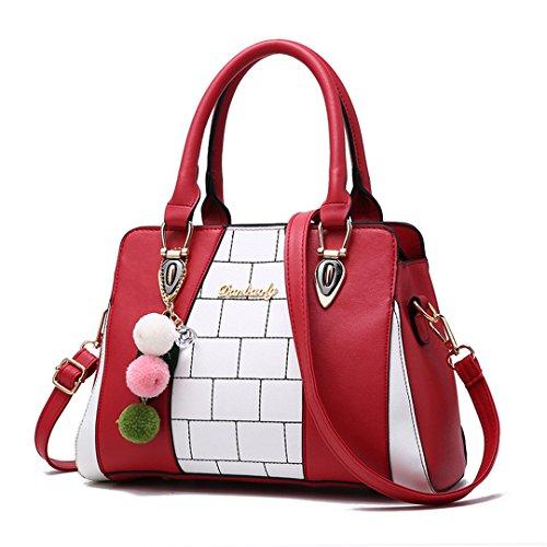 Weiblicher Beutel-Frauen-Handtaschen PU-Leder-weibliche Schulter-Beutel-Plaid-Dame Crossbody-Beutel-große Kapazitäts-Beutel-Sac Burgundy 29X13X20