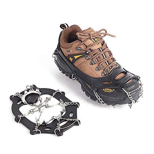 WenX Acero Inoxidable Trece Dientes Soldadura Soldadura Cubrezapatos Antideslizantes Cadenas de nieve para escalar hielo (L)
