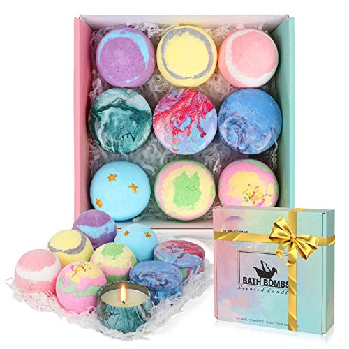 Bath Bombs Gift Set with Scented Candles for Women - Set of 6 Bath Bombs and 3 Scented Candles, Fizzy Spa to Moisturize Dry Skin, Christmas Birthday Gift idea for Her/Him/Wife/Girlfriend/Mother