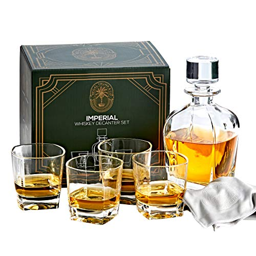 Regal Trunk & Co. Whiskey Decanter Sets | 4 Imperial Tumblers Whisky Decanter & Glass Set | Crystal Decanter Set Bourbon and Scotch | Comes In Gift Box and with Glass Polishing Cloth