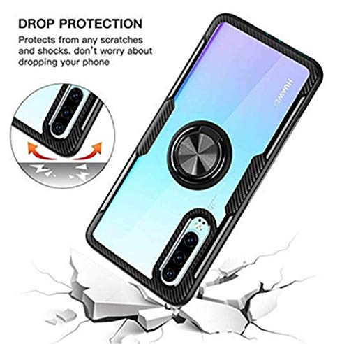 Kompatibel mit Huawei P30 Lite Hülle Huawei P30 Pro/P30 Silikon-Weiche Handyhülle Kickstand 360 Grad Handy transparent Magnetische Autohalterung Anti-Rutsch Schutz (Schwarz 1, P30 Lite) - 5