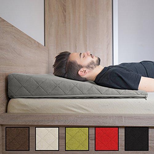Salosan® Entspannungs- und Relaxkissen, Keilkissen für Bett/Couch/Liege/Sofa. Druckentlastendes Ruhekissen, Rückenkissen oder Beinkissen. Bettkeil Größe 90cm x 60cm Höhe 11cm Farbe: (grau)