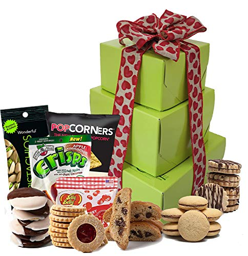 Independence Day Gift Basket | Gift Baskets Gluten Free with Gourmet Cookies Sweets Healthy Snacks and Nuts | Prime Food Gifts Girlfriend, Boyfriend, Husband and Wife (Large Tower)