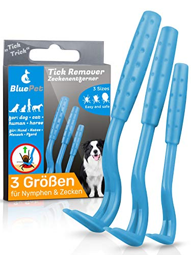 Bluepet® 3 Größen Set Zeckenhaken Zeckenentferner für Hund, Katze & Pferd | Zeckenhebel zum Zeckenschutz | Ergänzung zu Zeckenzange, Zeckenhalsband, Zeckenmittel, Zeckenpinzette