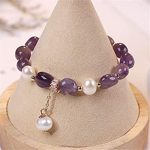 KEEBON Natural Healing Bracelet Amethyst Crystal Bracelet with Pearl Ornament Irregular Crystal Stone Raw Ore Gemstone Lucky Charms Attract Good Luck Love Bangle Gift for Women/Girls