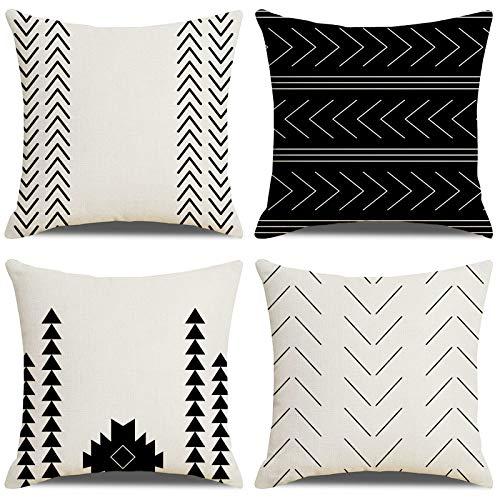 LAXEUYO Fundas de Cojines Negro Hogar Algodón Lino Cojines Decorativos para Sofa Fundas Cojines 45x45