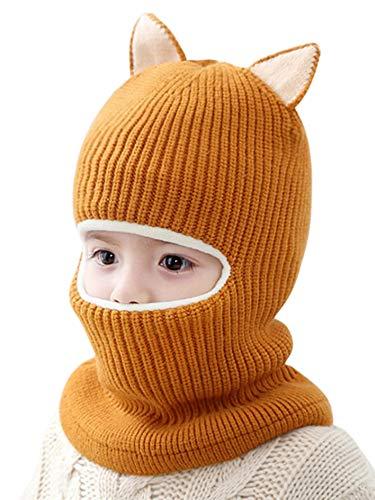 YOSICIL Sombreros y Gorras Sombrero de Invierno Cálido Gorros con Pompon Gorro de Punto Niños Piel Pom Pom Lindo Beanie Sombreros 48-54 CM 2-5 Años Unisex niños