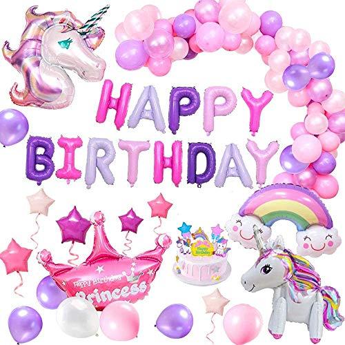 風船 誕生日 飾り付け 3D ユニコーン パーティー風船 セット(63点セット)パーティ HAPPY BIRTHDAY アルフ...