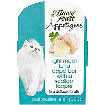Purina Fancy Feast Wet Cat Food Complement, Appetizers Light Meat Tuna With a Scallop Topper - (10) 1.1 oz. Trays