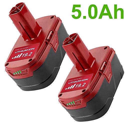 5.0Ah 19.2 Volt Replacement Lithium Ion Battery for Craftsman C3 XCP 130279005 1323903 130211004 11045 315.115410 315.11485 130285003 11375 19.2V DieHard Cordless Power Tool Batteries 2Pack