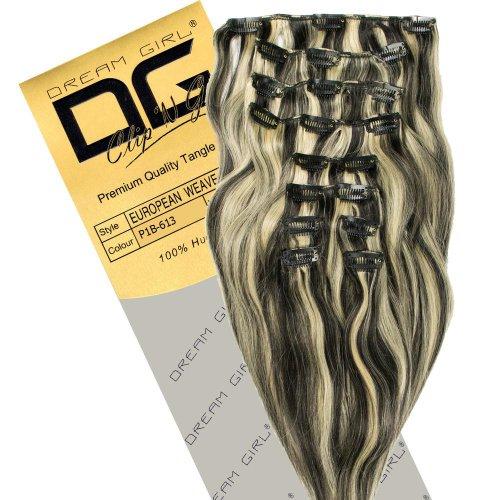 Dream Girl Extensions de cheveux à clipser Couleur 1B/613 35 cm