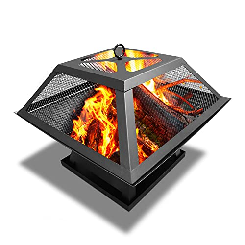Fire Pit Table Top Square Steel Patio Garden Heater Burner Outdoor BBQ Camping, Fire Bowl with BBQ Grill Mesh & Mesh Screen Cover, Black