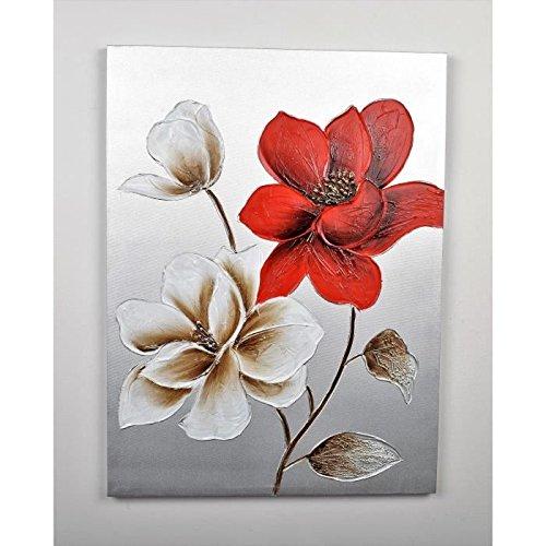 Cuadro Déco flores 112–lienzo pintada a mano–60x 80x 3cm