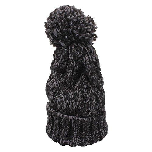 VANKER Hiver Chaud Épais Couleur Mélangée Chapeaux Tricotés Pompon à Crochet Taille Ajustable Bonnet Noir