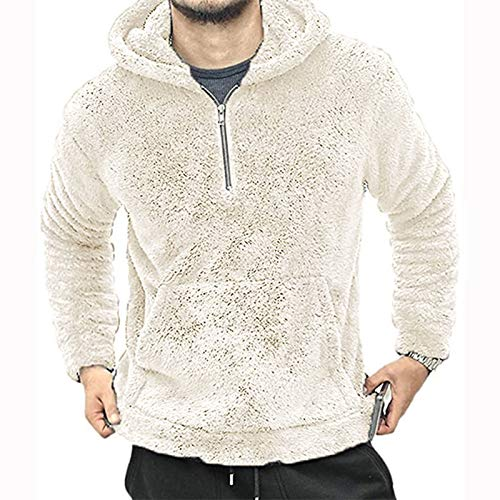 Sudadera de forro polar suave para hombre, con cremallera, cálida, para invierno, con bolsillo de canguro, color blanco, talla L