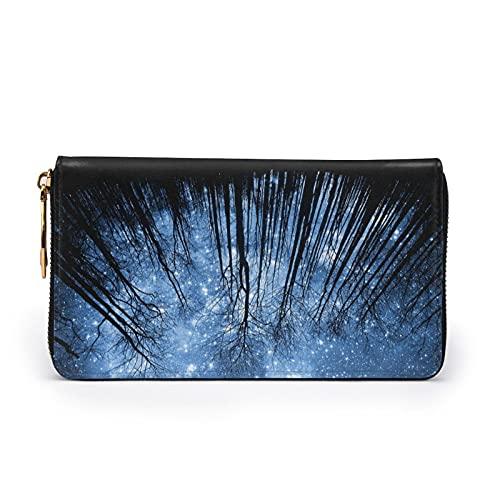 Cielo estrellado de la noche de cuero impreso cartera mujeres cremallera bolso embrague bolsa de viaje tarjeta de crédito titular monedero, Black, Talla única,