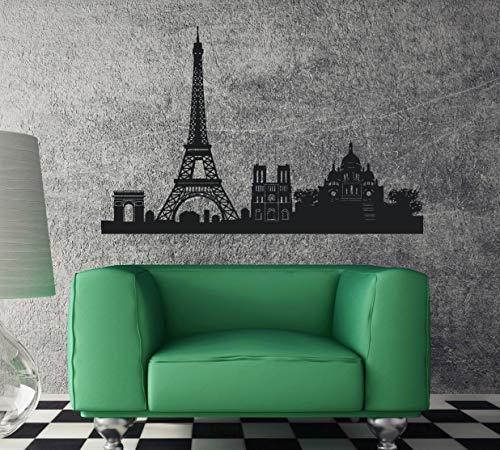 Tamengi Vinilo adhesivo con símbolo de Francia, Torre Eiffel de París, Arco de Triunfo, decoración de pared para dormitorio, sala de estar, oficina, baño, 55,88 cm