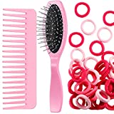 Doll Hair Care Set, Doll Hairbrush Wig Wire Brush, Wide Tooth Comb, 50 Piece Nylon Hair Ties, Hair Styling Doll Accessories Doll Supplies in Pink for Dolls