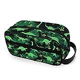 QMIN - Neceser portátil con diseño de huellas de dinosaurio y huellas de animales, bolsa de viaje multifunción, bolsa de maquillaje, bolsa de almacenamiento para niños, niñas, mujeres, hombres