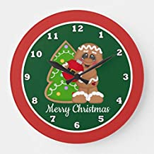 PotteLove Christmas Holiday Gingerbread Decorating Wooden Decorative Round Wall Clock