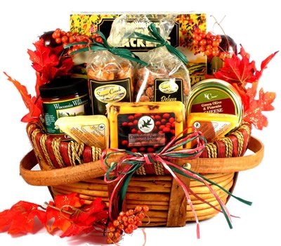 Gift Basket Village Gobble Till You Wobble, Fall Themed Gift Baskets or Thanksgiving Gift Basket With Gourmet Cheeses, Sausages and Delicious Sweets (Large), 10 Pounds