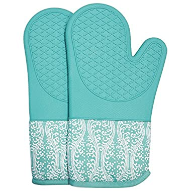 DETA HOME Silicone Oven Mitts for one Pair with Quilted Soft Cotton Lining, Kitchen Gloves Heat resisitant for 500 Degrees with Cooking,Pot Holder, Baking,Grilling(Light Blue)