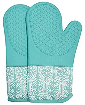 Professional Microwave Silicone Oven Mitts for one Pair Kitchen Lines Set for Heat Resistant with 500 Degrees Kitchen Gloves Pot Holder for BBQ Cooking Baking  Light Blue