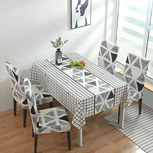 Wipeable Water-Proof PVC Tablecloth Universal Stretch Spandex Chair Cover Christmas Geometry Pattern Table Chair Protector Decor for Party,Tabletop 140 * 180Cm