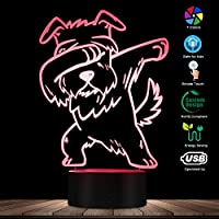 リモコン、軽くたたくシュナウザー照明3D錯視ライトUSBモダンナイトランプDAB犬動物光るLEDライト家の装飾デスクランプ
