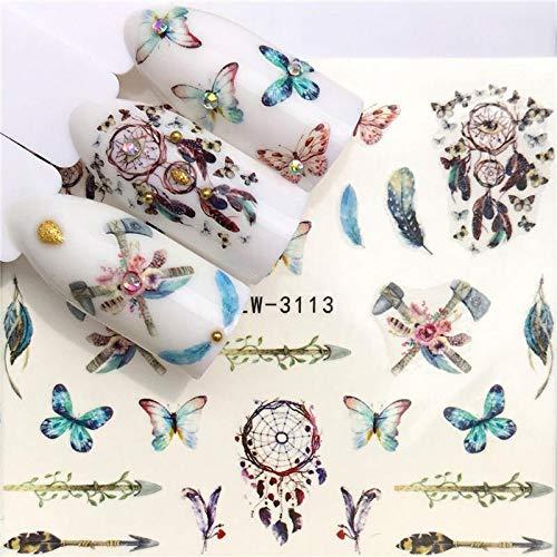 BLOUR 1 Hoja de Pegatinas para uñas, Pegatina de Transferencia de Agua, Flamenco de Dibujos Animados, diseños de Animales Bonitos, decoración de manicura Deslizante para decoración de uñas