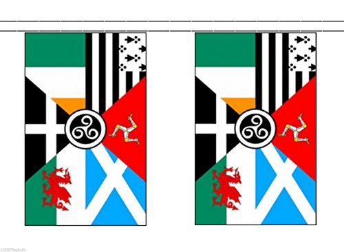 Pan Celtic Nations String 30 Flag Polyester Material Bunting - 9m (30') Long