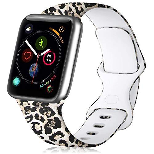 Mugust Correa Compatible con Apple Watch 38mm 40mm 42mm 44mm, Pulsera de Repuesto Silicona Suave Patrón Impresión para iWatch Series 6 5 4 3 2 1 (42mm/44mm M/L, Leopardo)