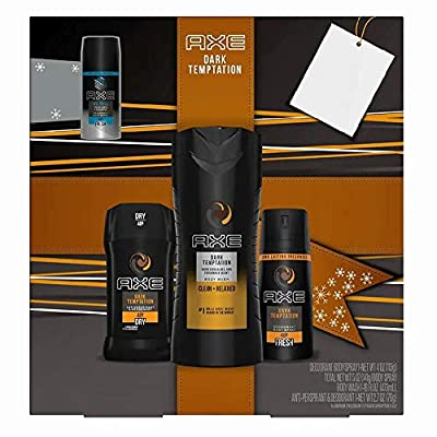 AXE Collection 4 pcs Gift Set - Body Wash, Antiperspirant, Daily Fragrance and Travel Size Daily Fragrance (Dark Temptation)