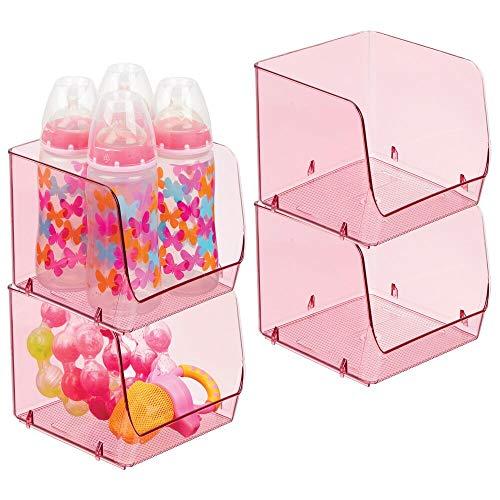 mDesign - Opbergbak in 2-delige set - opbergbox/organizer - met open voorkant/plastic - voor luiers, kleding, speelgoed en meer - handig voor keuken, babykamer, slaapkamer, speelkamer - roze